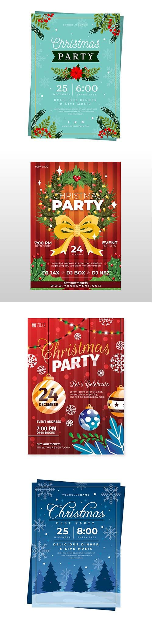 Flat design christmas party template poster