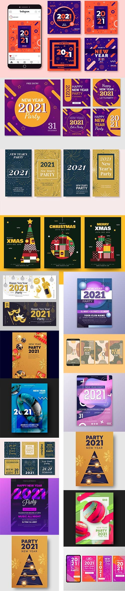 New year 2021 party instagram posts and new year party flyer template