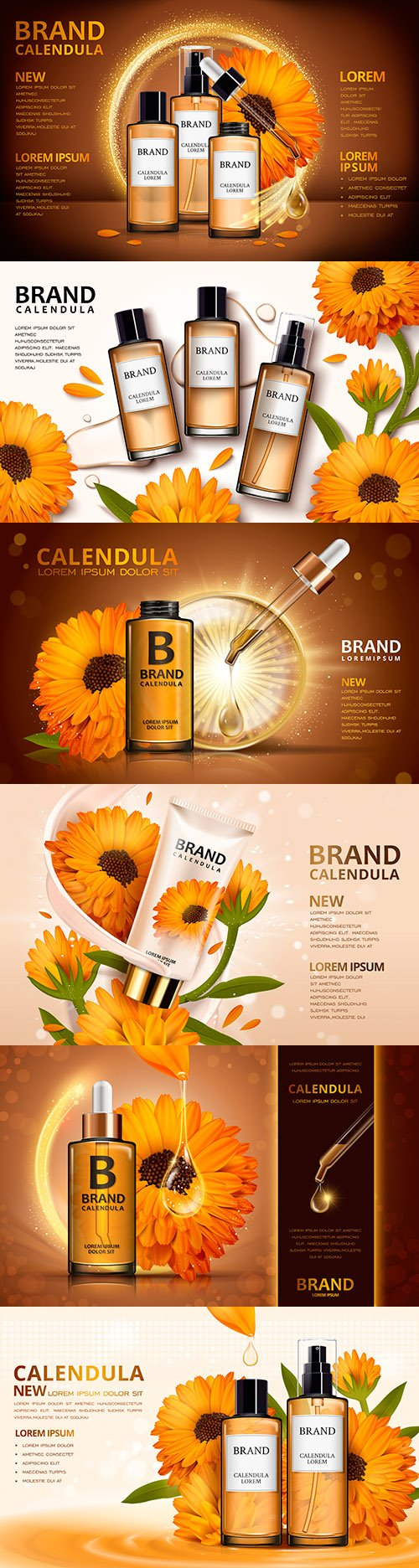 Design cosmetic advertising 3d illustrations with calendula colors