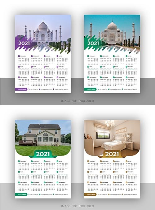 Single page stylish wall calendar design template