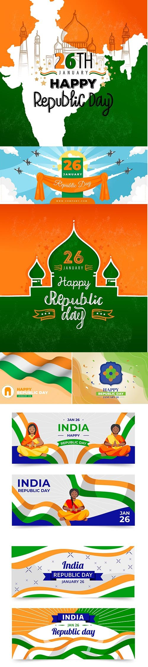 Flat design india republic day banner