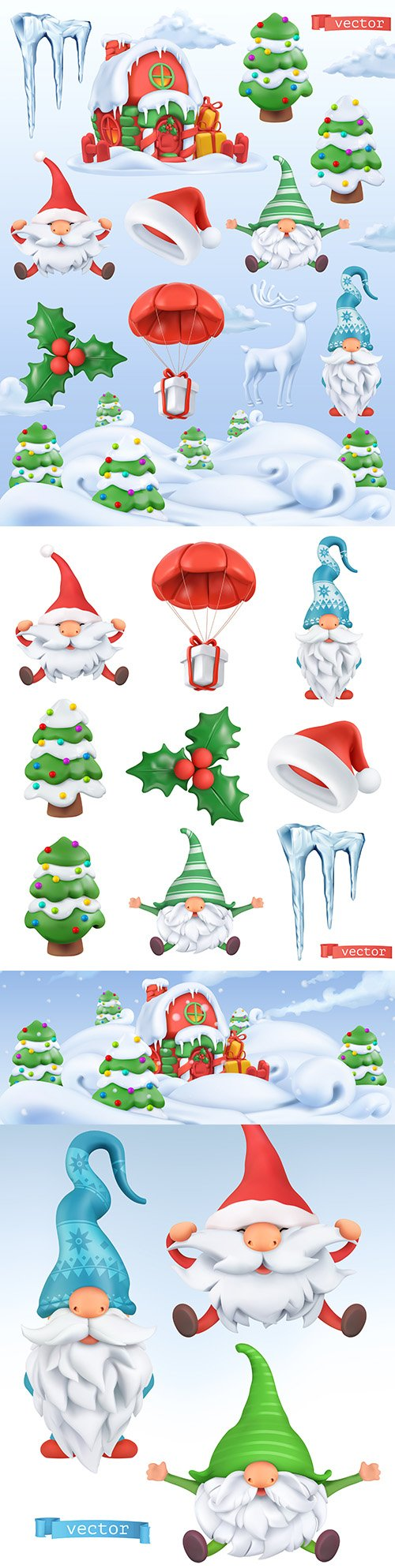Christmas characters cartoon 3d icon illustration