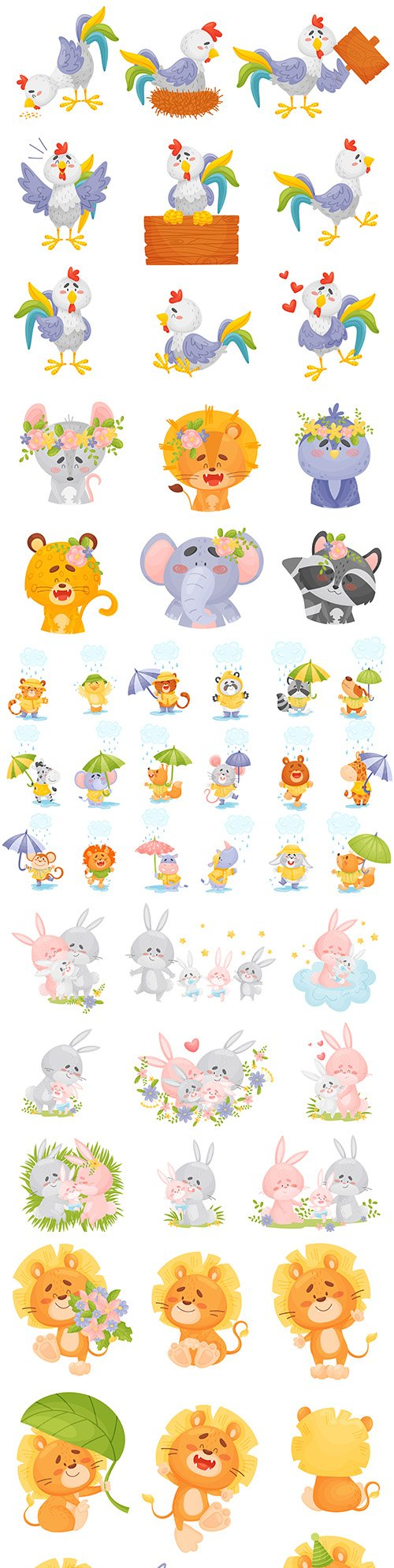 Cartoon animals and birds with decorative colors set emblems