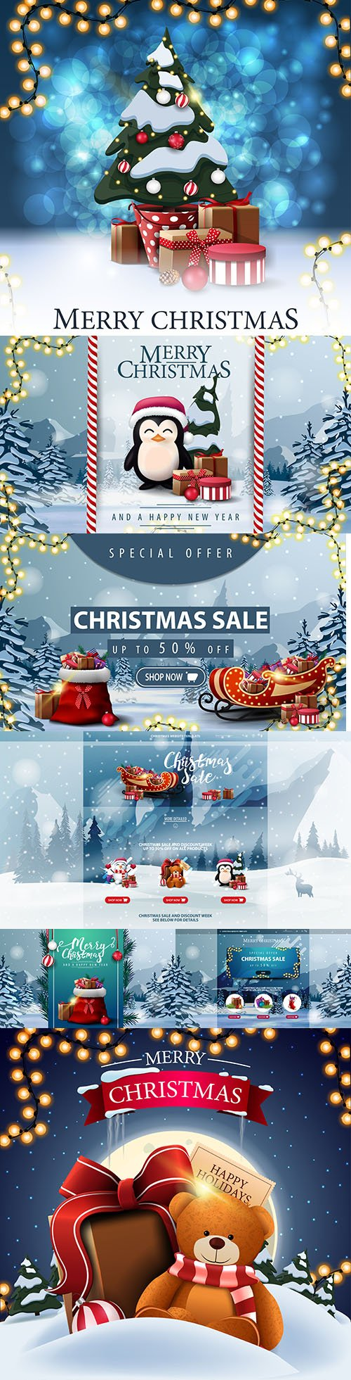 Special offer Christmas sale horizontal discount banner