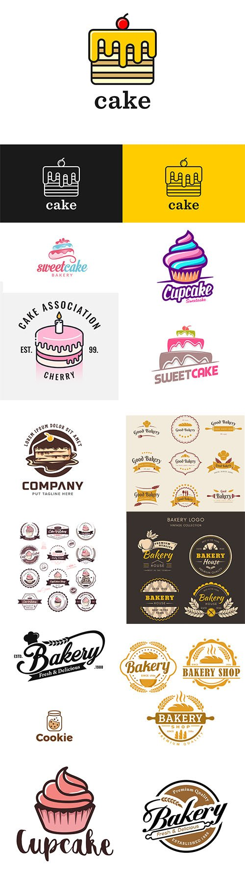 Bakery cake logo template collection vol 2