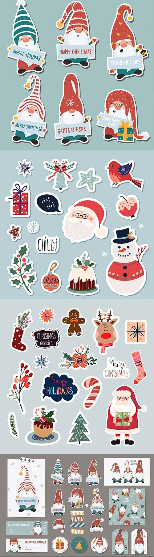 Cute Santa Claus collection of Christmas stickers elements
