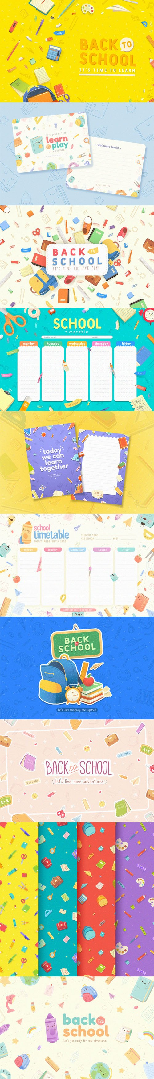 Back to School Vector Templates Collection