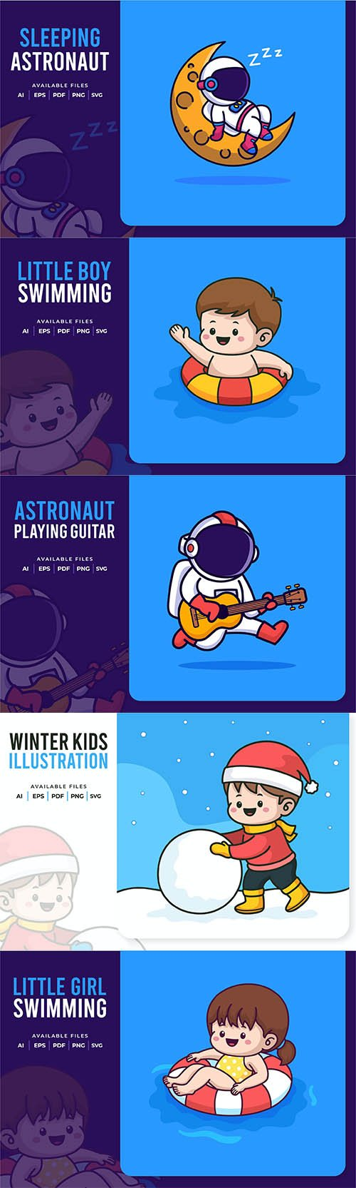 Little Boy, Girl and Austronaut Vector Illustrations