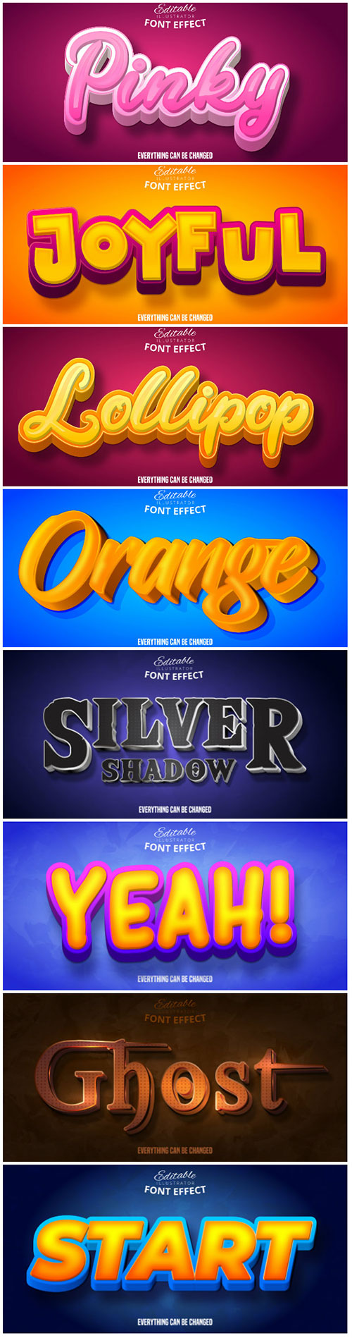 3d editable text style effect vector vol 131