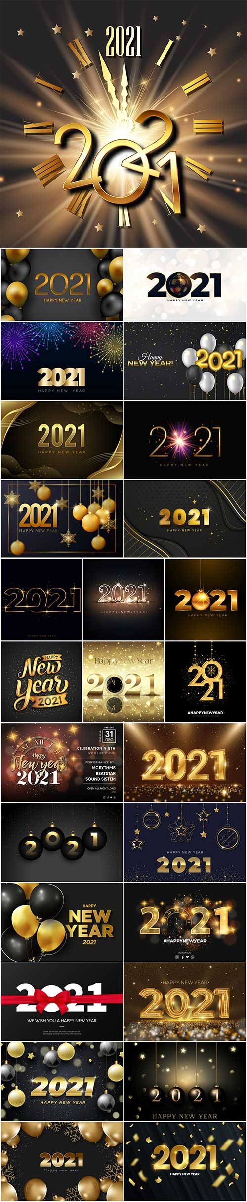 Happy new year 2021 night event vector poster with golden texture