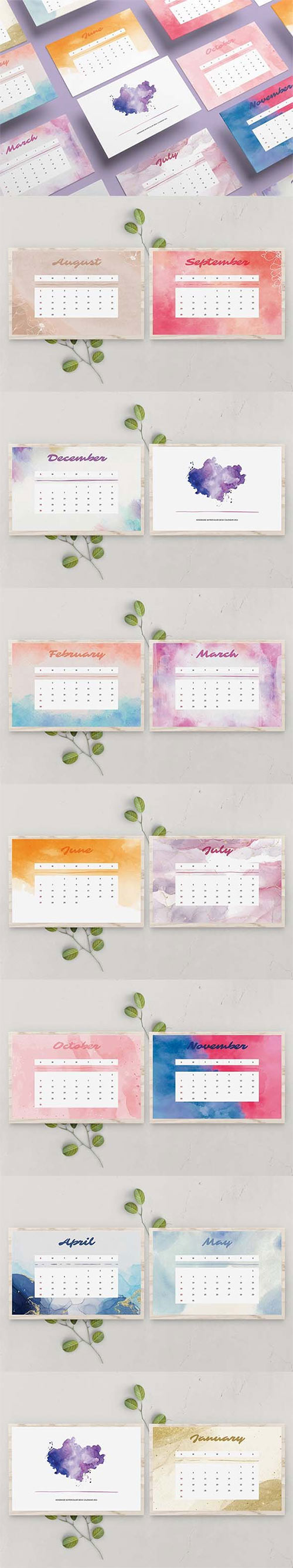 Handmade Watercolor Calendar 2021