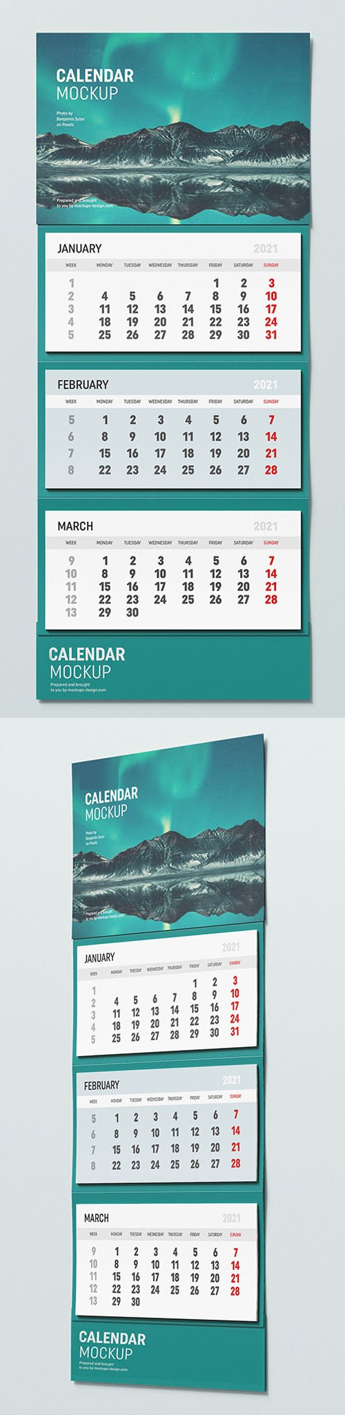 New Year 2021 Wall Calendar PSD Mockup Template