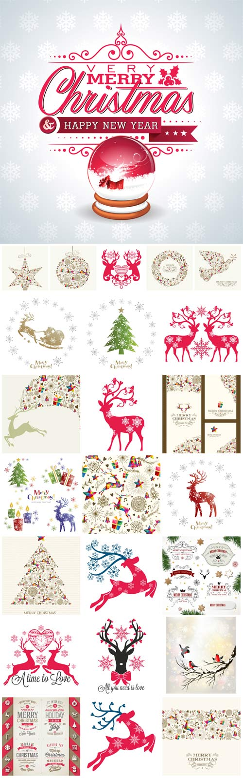 Christmas vector with reindeer and winter decor
