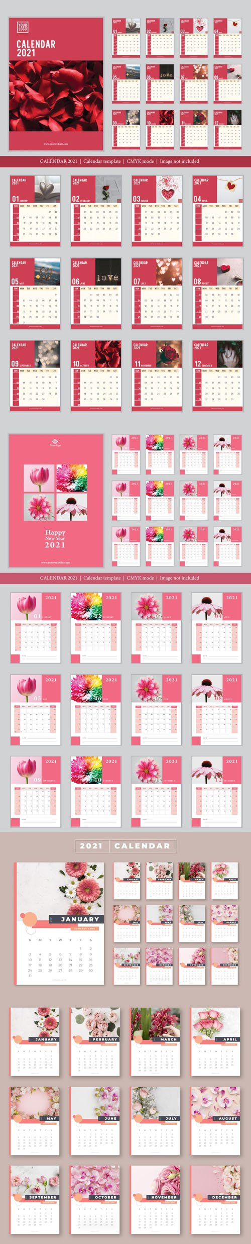 3 Vector Calendars 2021 in Romantic & Rosy Styles