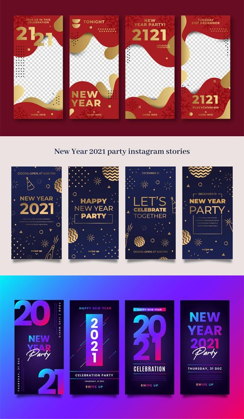 3 New Year 2021 Instagram Stories Vector Collection