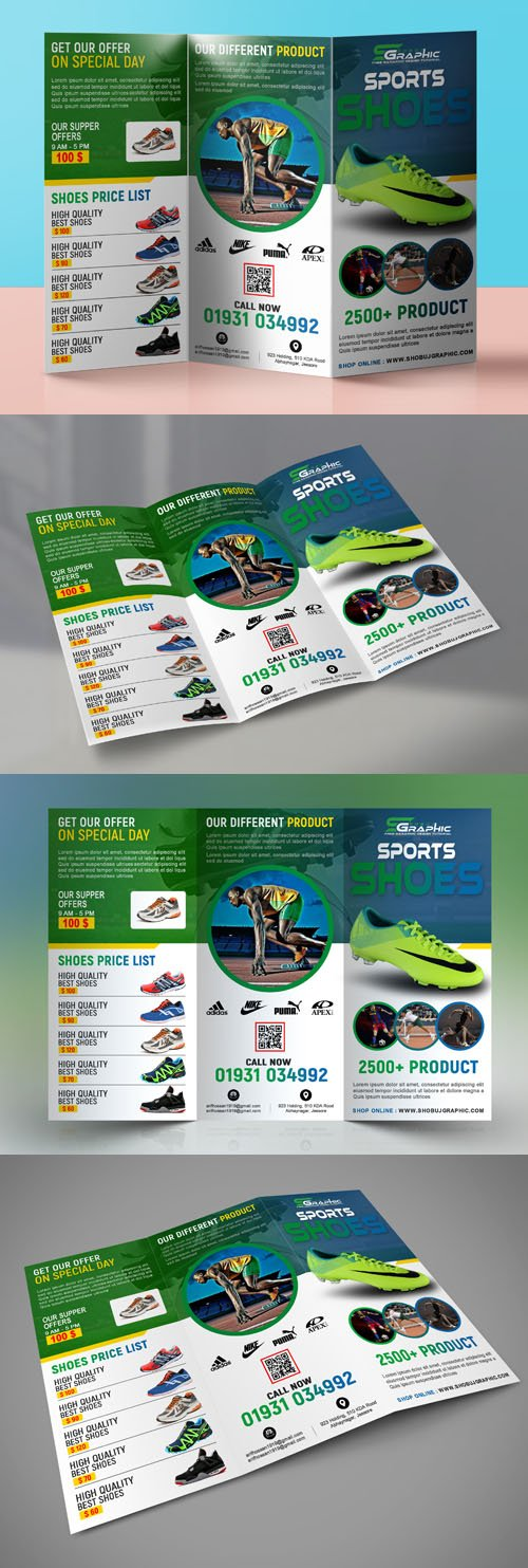 Sports Shoes Tri-Fold Brochure PSD Template