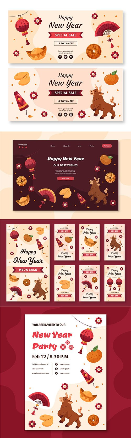 Hand-drawn instagram stories, banner, landing page collection chinese new year