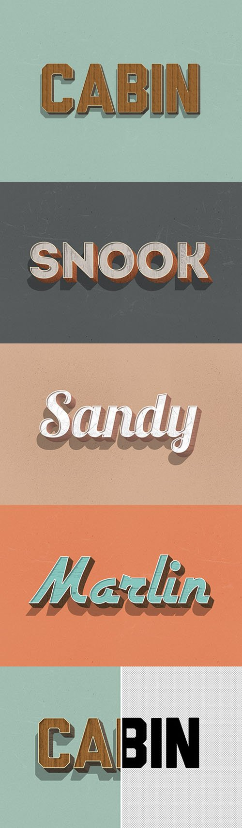 Retro 3D Wood PSD Text Effects