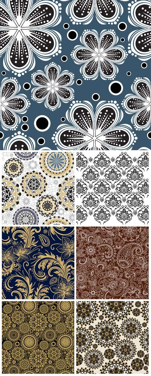 Backgrounds with lace patterns and flowers in vector