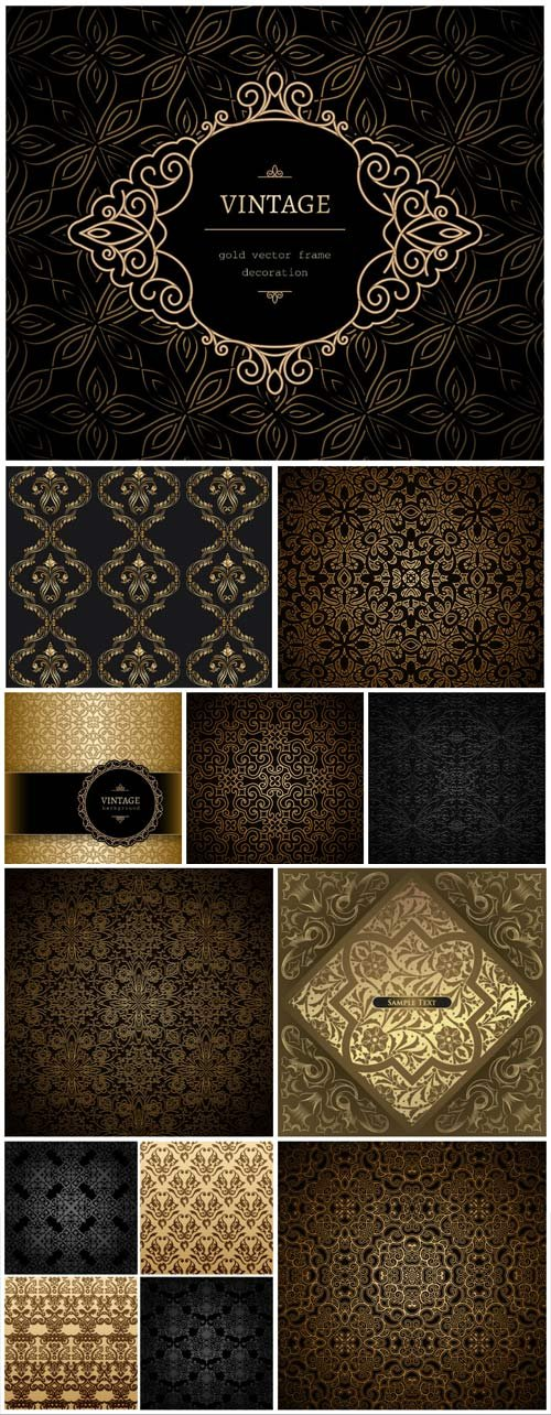 Dark backgrounds with gold ornaments in vector