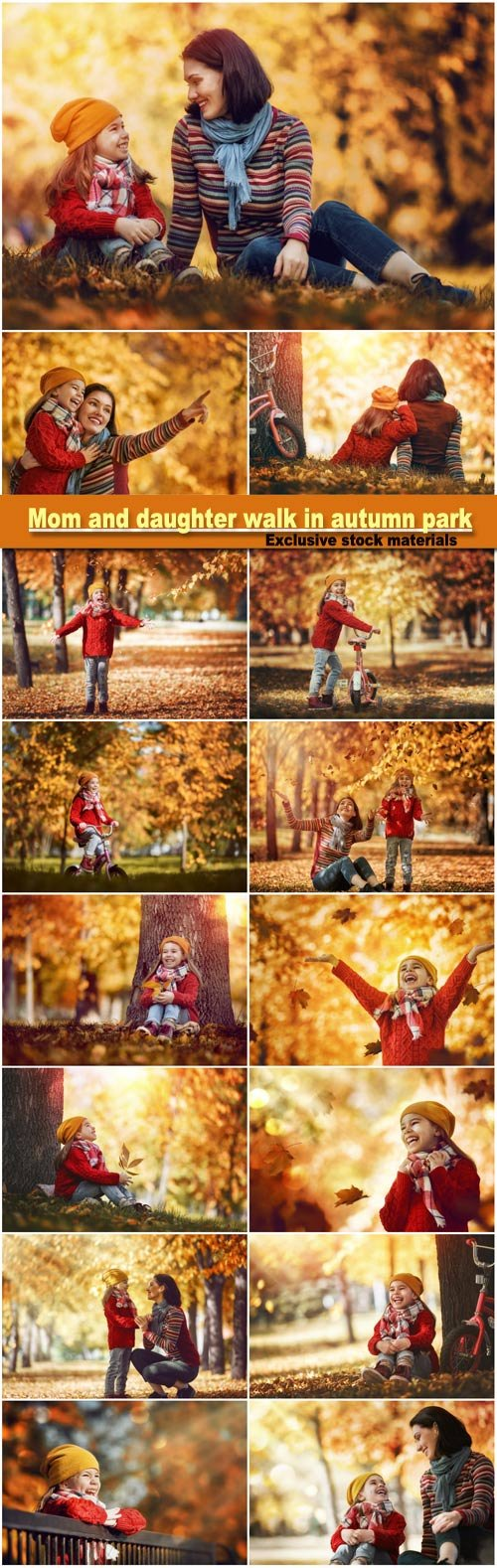 Mom and daughter walk in autumn park, happy family