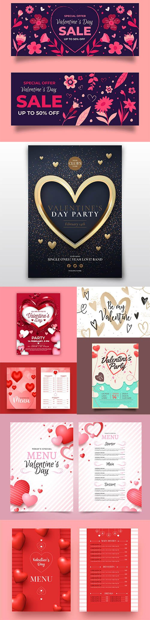 Happy Valentines day vector collection vol 5