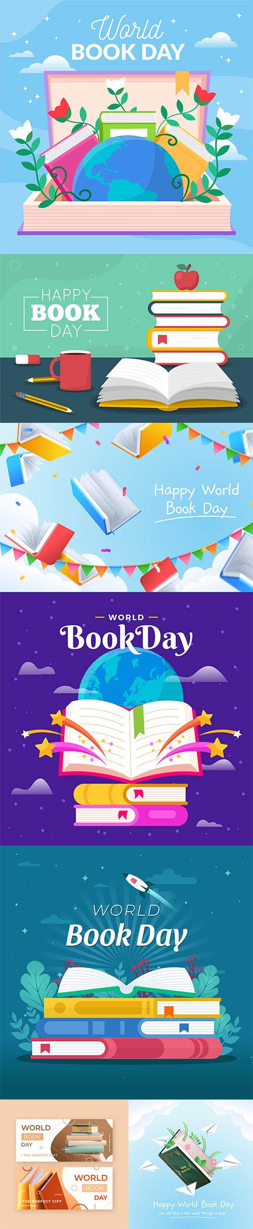 Flat world book day illustrations set