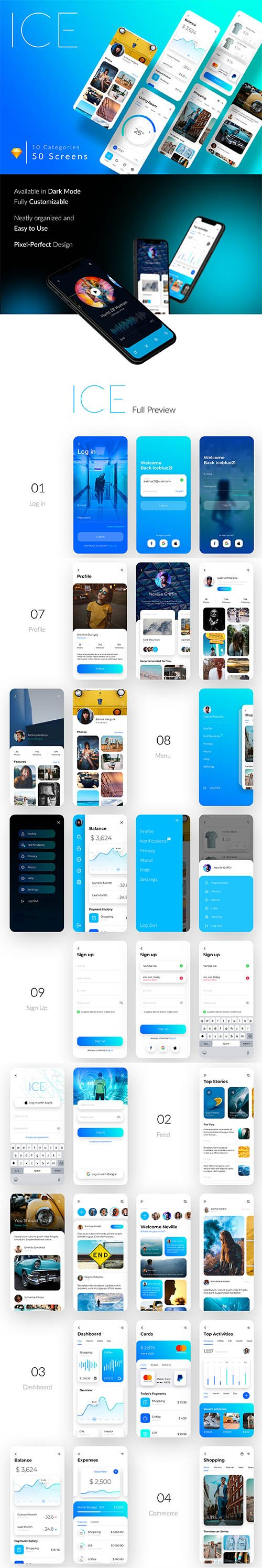ICE Multipurpose iOS UI Kit - UI8