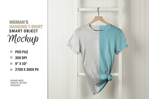 Mockup T-Shirt on White Wall Hanger PSD