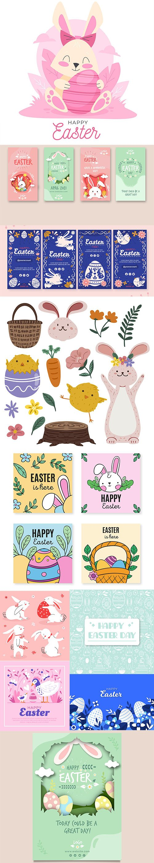 Hand-drawn easter bunny collection