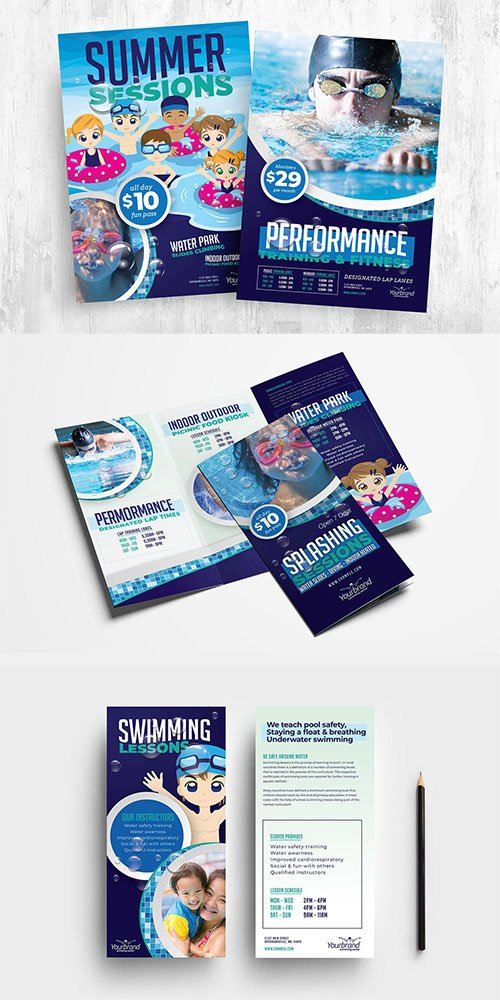 Swimming Pool Flyer & Brochure Templates Pack