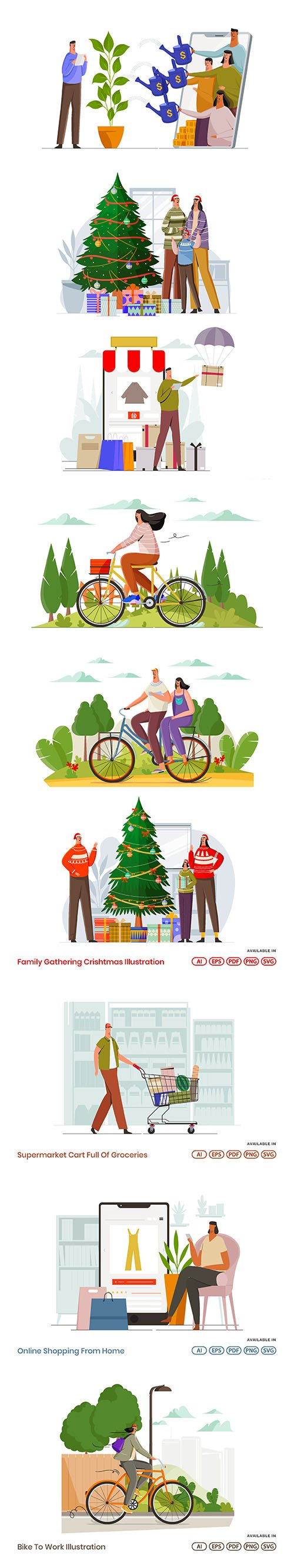 People Activities Vector Illustrations Vol 8