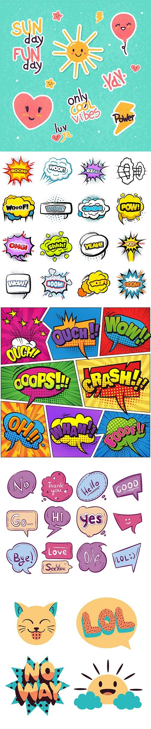 Speech bubbles hand-drawn coloring Vol 2