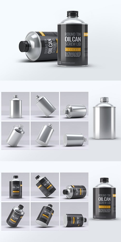 Oil Round Tin Can Screw Lid Mock-Up