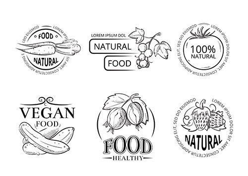 Veggie hand drawing labels with doodle vegan meal
