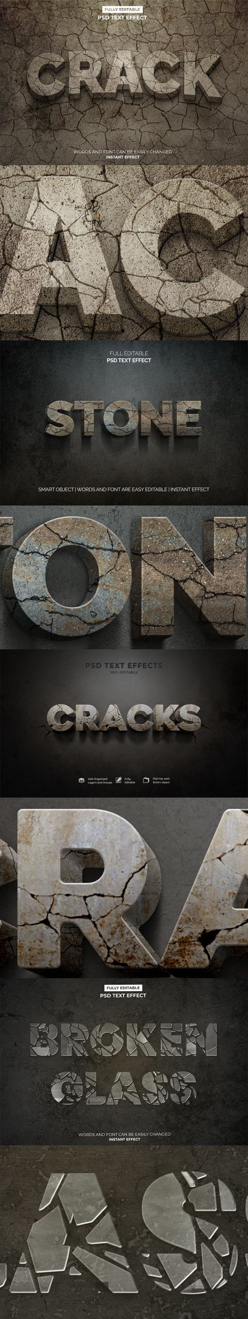 3D Crack, Stone and Broken Glass Photoshop Text Effects