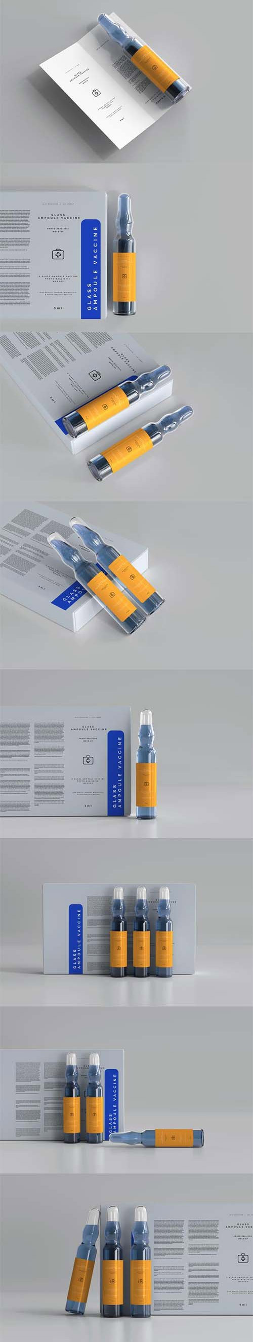 Glass ampoule vaccine with bi-fold brochure and box mockup