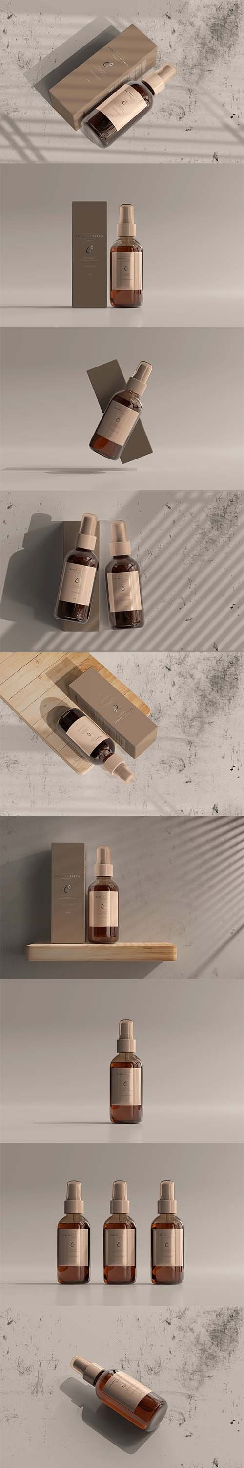 Amber Cosmetic Spray Bottle Mockup 5990014