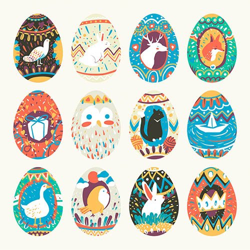 Easter festival painted eggs collection