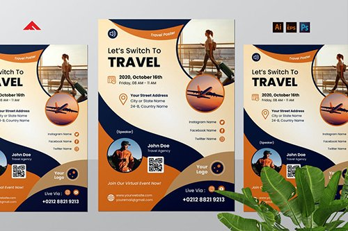 Online Travel Virtual Event Flyer
