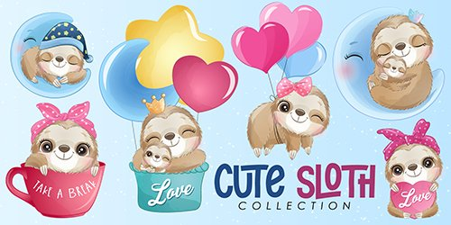 Cute little sloth watercolor illustrations