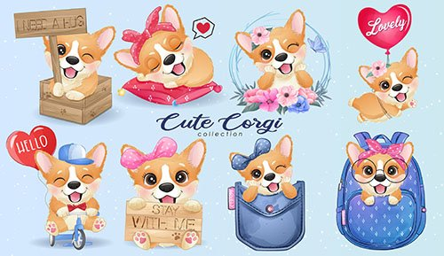 Cute little corgi life with watercolor illustration set
