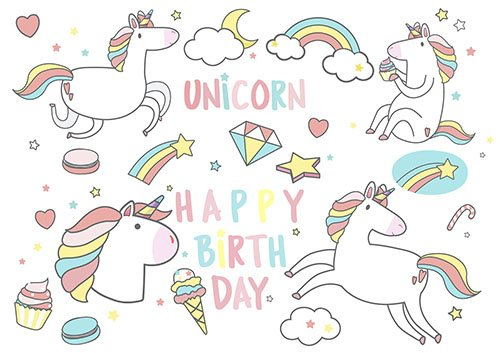 Happy Birthday unicorn with magic elements card vector