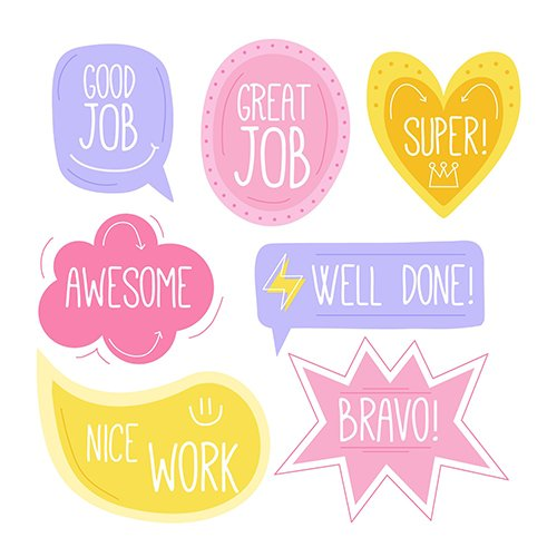 Collection of good job stickers