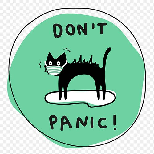 Don't panic! png new normal lifestyle doodle sticker