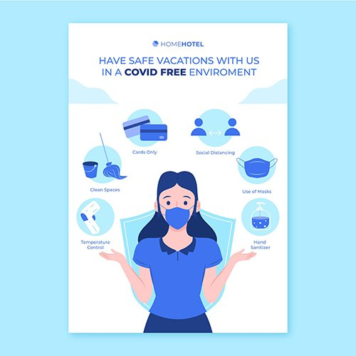 Coronavirus prevention poster template hotels
