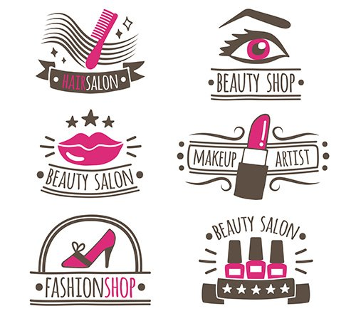Collection of hand-drawn logos beauty salon