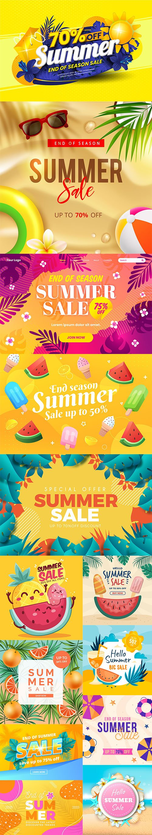 Colorful summer sale backgrounds set