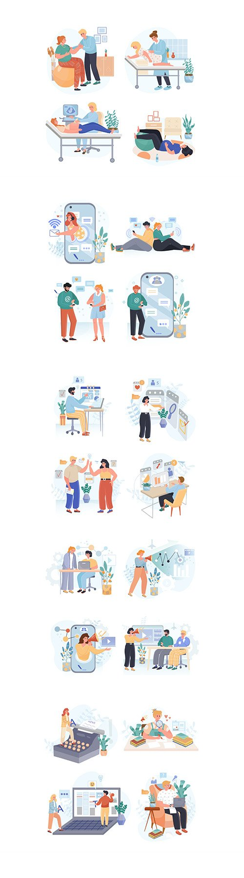 People activity illustrations set Vol2
