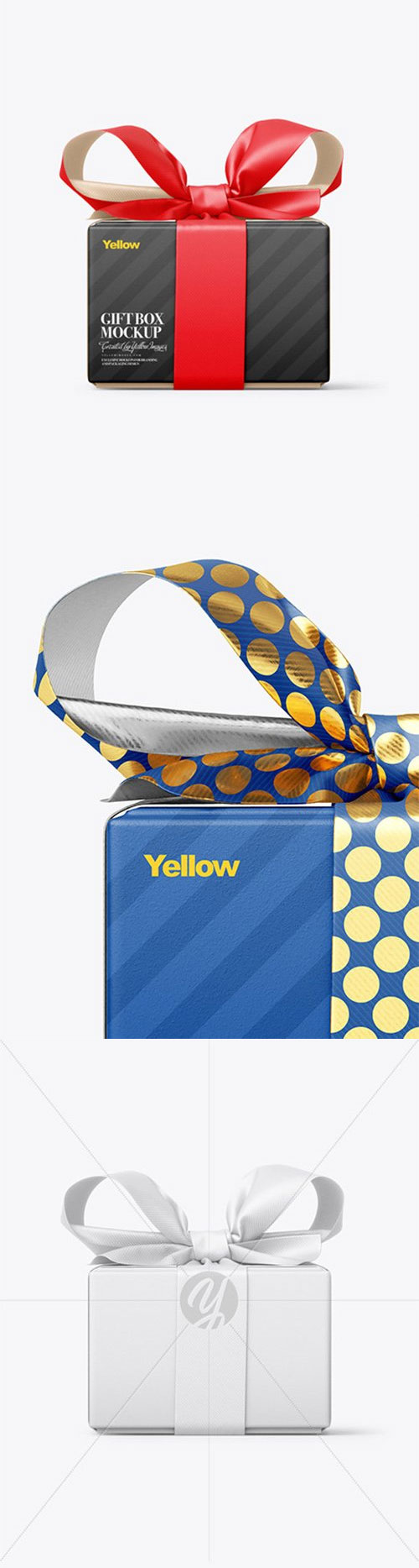 Gift Box With Matte Bow Mockup - Front View 78754